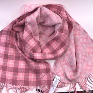 Coach wool reversible scarf in pinks, NWT